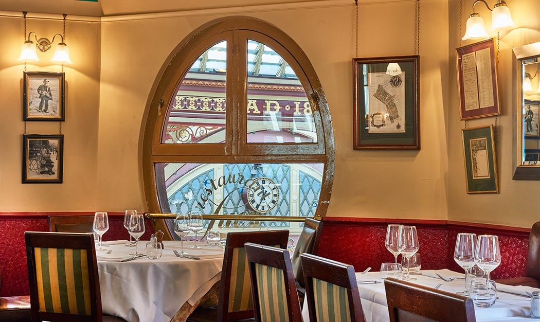 This table on the second floor is set in the corner with views across Leadenhall Market